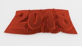 2018个被覆盖的明年标志红色天鹅绒 库存图片