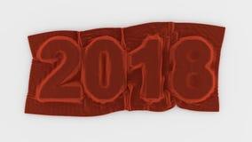 2018个被覆盖的明年标志红色天鹅绒 库存照片
