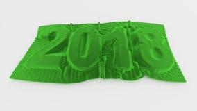 2018个被覆盖的明年标志绿色天鹅绒 免版税库存照片
