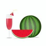 整个西瓜、西瓜切片和西瓜汁 免版税库存图片