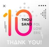 10000个追随者与几何元素的孟菲斯卡片 10k跟随 库存例证