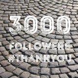 3000个追随者 免版税图库摄影
