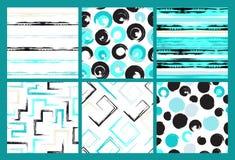 6个逗人喜爱的另外传染媒介无缝的样式 漩涡,圈子,刷子冲程,正方形,抽象几何形状 圆点 库存照片