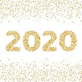 2020个金黄新年 寒假背景金黄五彩纸屑 : 向量例证