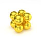 8个金黄球编组了3D立方体 免版税库存照片