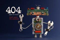 404个错误页没被找到的概念 唐` t恐慌我` m技工 递板钳活络扳子深蓝的机器人杂物工 免版税库存照片