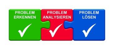 3个难题按钮显示意识到问题分析问题解决问题德国3D例证 库存例证