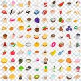 100个鲜美食物象设置了,等量3d样式 皇族释放例证