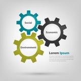3个齿轮驱动代表好公司管理方法 免版税图库摄影