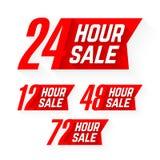 12个, 24个, 48个和72个小时销售标签 免版税库存图片