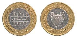 100个巴林人丁那硬币 库存照片