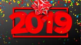 2019个3D标志传染媒介 标志第2019年 现代小册子 红色 新年背景例证 库存照片