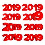 2019个3D标志集合传染媒介 红色第2019年 假日冬天设计的设计元素 新年快乐庆祝横幅 图库摄影