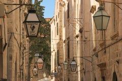 8个eps查出的闪亮指示街道白色 杜布罗夫尼克市 克罗地亚 库存图片