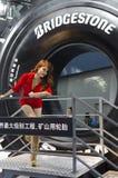2013个GZ AUTOSHOW普利司通开采特别轮胎 免版税图库摄影
