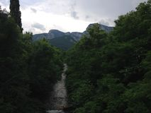 3个hdr图象山全景河垂直 免版税图库摄影