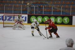 2017个IIHF冰球世界冠军-澳大利亚对比利时 库存照片