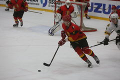 2017个IIHF冰球世界冠军-澳大利亚对比利时 免版税库存照片