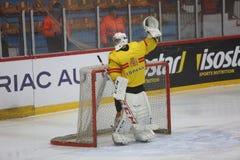 2017个IIHF冰球世界冠军-罗马尼亚对西班牙 免版税库存图片