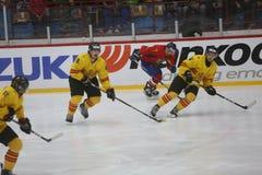 2017个IIHF冰球世界冠军-罗马尼亚对西班牙 图库摄影