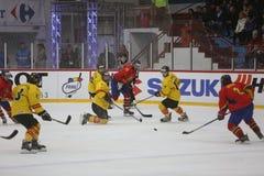 2017个IIHF冰球世界冠军-罗马尼亚对西班牙 免版税库存照片