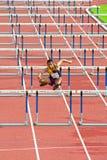 100个m.障碍在泰国打开运动冠军2013年。 库存图片