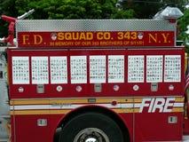 911个N Y C消防车退休对佛罗里达 免版税库存照片