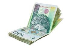 100个PLN波兰钞票  库存图片
