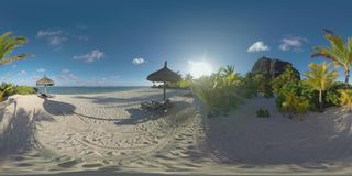 360个VR在莫纳山,毛里求斯海岸的海洋海滩