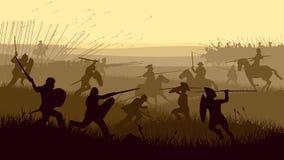 中世纪争斗的抽象例证。 免版税库存照片