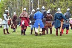 中世纪争斗的Reconstraction 免版税库存照片