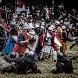 中世纪争斗重建;捷克, Libusin, 25 04 库存图片
