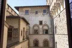 中世纪佛罗伦丁的大厦 从Palazzo Vecchio,佛罗伦萨,托斯卡纳,意大利的顶端看法 库存照片