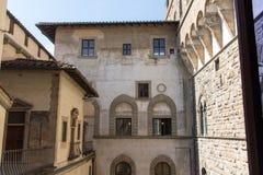 中世纪佛罗伦丁的大厦 从Palazzo Vecchio,佛罗伦萨,托斯卡纳,意大利的顶端看法 图库摄影