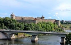 中世纪俄国城堡视图 库存照片