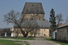 中世纪公爵的塔在村庄SiedlÄ™cin,冬天 免版税库存图片