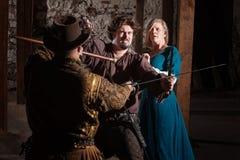 中世纪剑战斗 免版税图库摄影