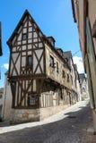 中世纪半木料半灰泥的房子在沙特尔,法国 免版税库存照片