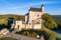 中世纪博博利采城堡在波兰 库存照片