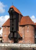 中世纪口岸起重机在格但斯克,波兰 免版税库存照片