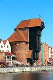 中世纪口岸起重机Zuraw在格但斯克 库存照片
