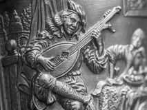 中世纪吟呦诗人生铁装饰品 免版税库存照片