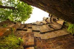 中世纪哥特式修道院的废墟 图库摄影