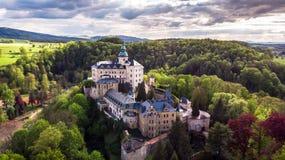 中世纪哥特式和新生样式城堡鸟瞰图  免版税库存图片