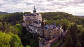 中世纪哥特式和新生样式城堡鸟瞰图  图库摄影