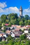中世纪哥特式Stramberk城堡和镇, Czrech共和国 免版税库存图片