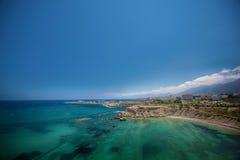 中世纪城堡和老港口在凯里尼亚,塞浦路斯 库存照片