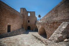 中世纪城堡和老港口在凯里尼亚,塞浦路斯 库存图片