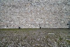 中世纪城堡和被修补的方形的背景 免版税库存图片