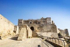 中世纪城堡在塔里法角,西班牙 库存图片